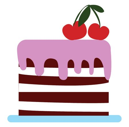 Brown and white fondant covering the amazing big cake with pink drippings and garnished with two red cherries on top of it, vector, color drawing or illustration.