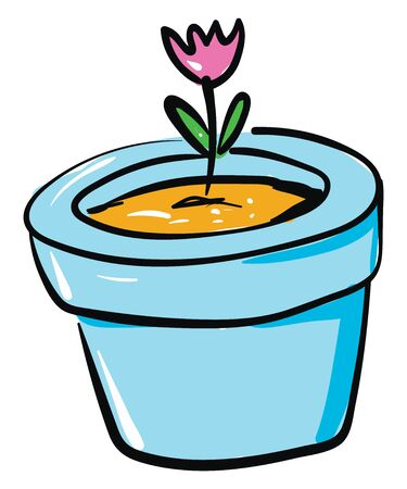 A pink flower with two oval-shaped leaves on its stalk blossomed on a blue flower pot looks amazing set isolated on white background viewed from the front, vector, color drawing or illustration. Illustration