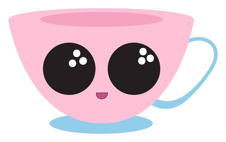 Emoji of a coffee cup in pink, base and handle in blue color has a cute little face with eyes rolled top left and smiles with the rosy lips, vector, color drawing or illustration.