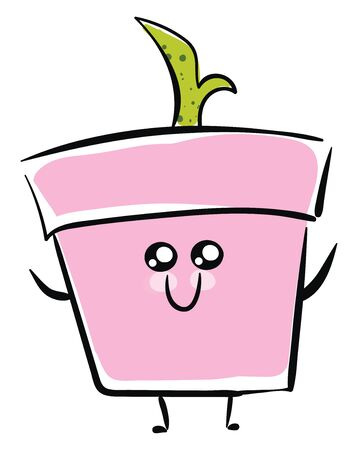 the green plant with a stem growing in a flower pot has a cute little face with two eyes rolled bottom-left, and hands wide opened smiles while standing , vector, color drawing or illustration. Ilustração