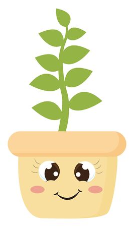 A green plant with leaves on the medium-sized stem growing on orange flower pot that has a cute little face with eyes crossed and a closed smile, vector, color drawing or illustration.