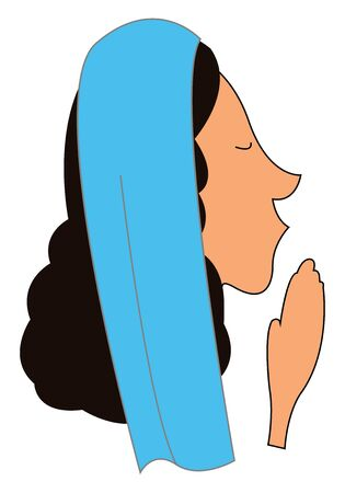 A face of a woman with long curly black hair, sharp nose, hands together and a blue shawl on her head has closed her eyes while praying, vector, color drawing or illustration.