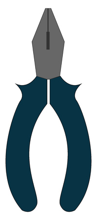 Pliers with the blue handle with parallel, flat, and serrated surfaces, used for gripping objects like a pipe or rod, bending, twisting and cutting wires , vector, color drawing or illustration.