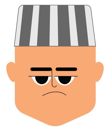 A face of a sad prisoner in a white cap with black stripes or bands looks unhappy for some reason set isolated on white background viewed from the front, vector, color drawing or illustration.
