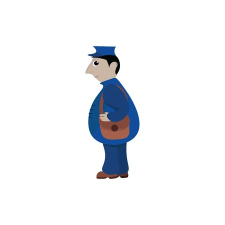 A postman in his blue uniform and a hat with a long-clutch brown sling bag on his shoulders is smiling set isolated on white background viewed from the side, vector, color drawing or illustration. Иллюстрация