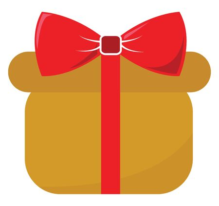A gift box tied with a red ribbon and topped with a red bow is ideal to beloved ones on special days set isolated on white background viewed from the front, vector, color drawing or illustration.
