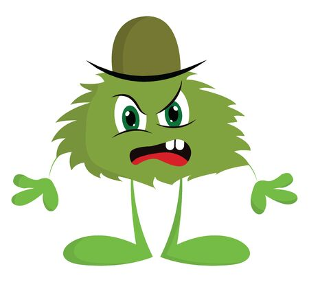 A color green angry monster with green hat, looks disgusted, open mouth, red tongue, with two teeth, vector, color drawing or illustration.