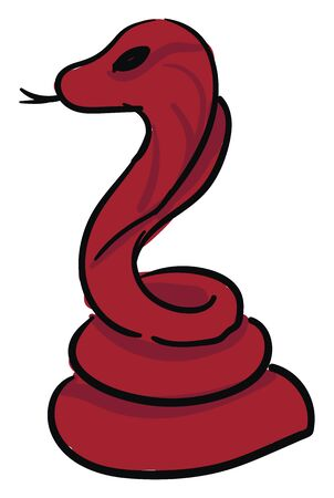 Cartoon coiled red snake with a forked tongue with tongue stuck out, and body is coiled up as if to strike, vector, color drawing or illustration.