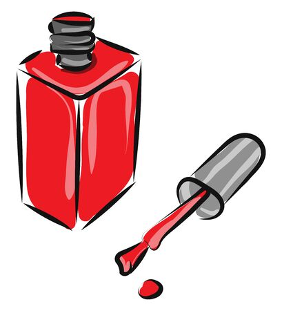 A red manicure in a rectangular bottle left opened and a drop splashed from the brush completes the white background, vector, color drawing or illustration.
