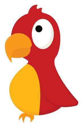 Cartoon picture of a red bird with the sharp yellow pointed curved bill with eyes rolled up is perched and set isolated on white background viewed from the side, vector, color drawing or illustration.