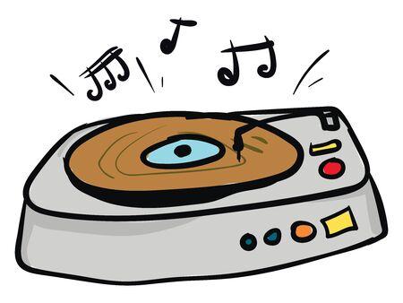 Le tourne-disque conçu avec des haut-parleurs stéréo intégrés et des boutons de lecture colorés pour démarrer/arrêter et régler le volume du son tout en jouant de la musique, un vecteur, un dessin en couleur ou une illustration.