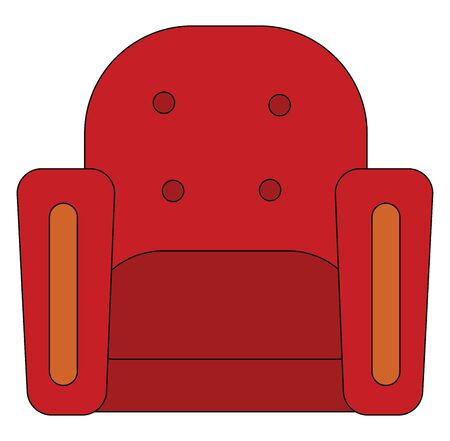 A single-seater red armchair made of cotton with material filling and cushioned soft, enhances the comfort experience and allows one to relax In luxury, vector, color drawing or illustration.