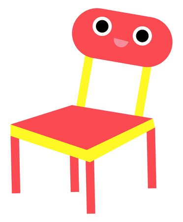 Emoji of a red chair with a square-shaped seat, four legs, and the back support or the rail, has a cute little face with two big eyes and rosy lips is smiling, vector, color drawing or illustration.