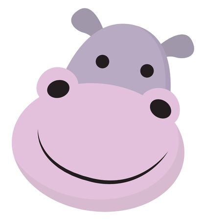 A face of a purple hippopotamus with two small ears, projecting oval mouth, looks extremely happy and cute, while smiling, over white background, vector, color drawing or illustration.