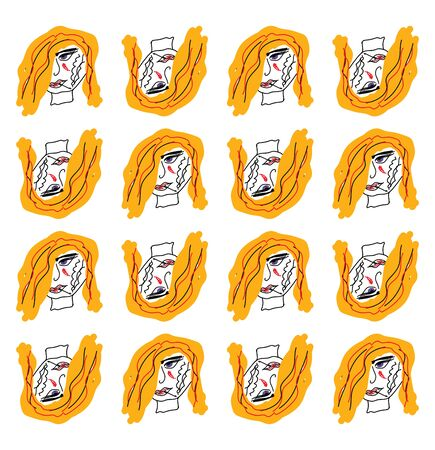 Regular patterns of the face of a smoking woman in yellow hair, displayed in four horizontal rows of alternate up and down positions viewed from the front, vector, color drawing or illustration.
