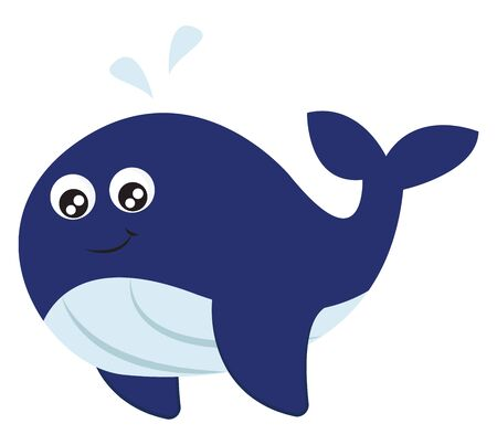 The whale with a streamlined body, forked tail, fins curled down, blue and white, upper and underparts, respectively, smiles and make bubbles while swimming, vector, color drawing or illustration.