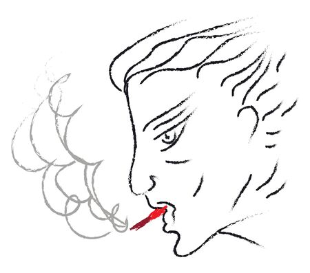 Lineart of a man smoking red tobacco in his mouth set isolated on white background viewed from the side, vector, color drawing or illustration.