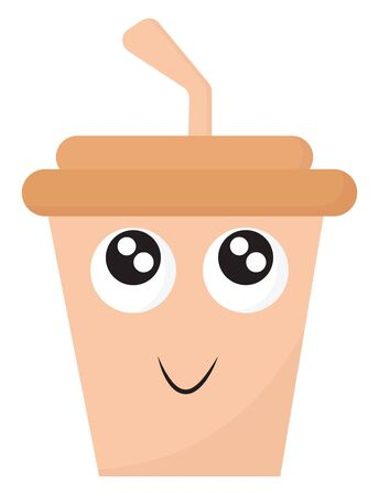 Emoji of the disposable party pink coffee cup with a brown lid has a straw, and a cute little face is smiling while eyes rolled top-left, vector, color drawing or illustration. Ilustração