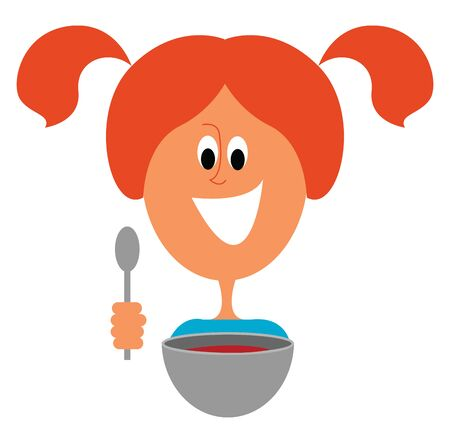 Emoji of the giant bowl has a cute little smiling face filled with yellow soup and a black tong over white background viewed from the front, vector, color drawing or illustration. Standard-Bild - 132672584