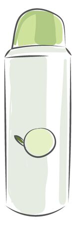 A green antiperspirant spray with logo or design, lid closed, vector, color drawing or illustration.