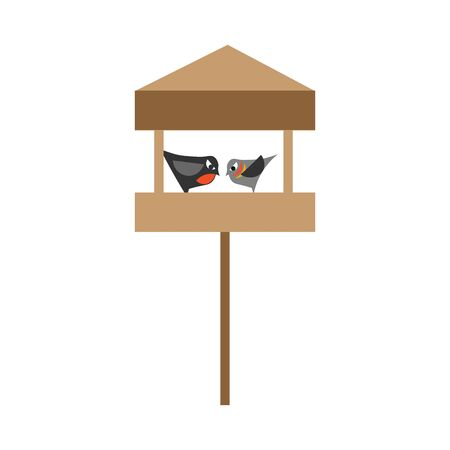 A wooden bird feeder with stand, two birds are eating, vector, color drawing or illustration.