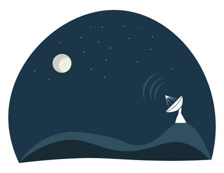 A dish antenna that transmits a signal, vector, color drawing or illustration. Stock Illustratie