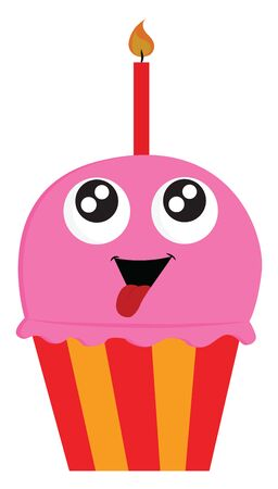 A pink birthday cupcake, with a face, big eyes and red tongue out of the mouth, with red candle, base red and yellow stripes, vector, color drawing or illustration.