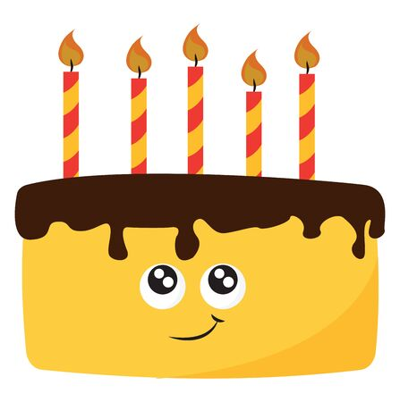 A yellow birthday cake, with brown icing, with yellow-red stripes candle, with design of a face, vector, color drawing or illustration.