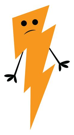 The lightning with a big yellow flash of light the occurrence of a natural electric discharge has a cute little smiling face and stick-like black hands, vector, color drawing or illustration.