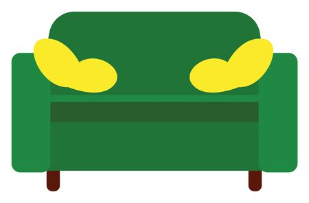 A long green-colored upholstered seat with a back and arms, for two or more people, stands with the support of wooden legs has two small throw yellow pillows, vector, color drawing or illustration.