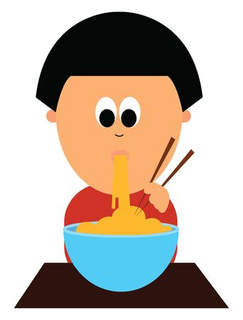 Cartoon picture of a smart little boy in a closed red shirt with eyes rolled down enjoys spaghetti from the giant blue bowl while holding the brown tong, vector, color drawing or illustration. Ilustração