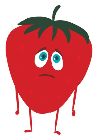 the red strawberry topped with green leaf has a cute little face with blue eyes expresses sadness while standing over white background viewed from the front, vector, color drawing or illustration.