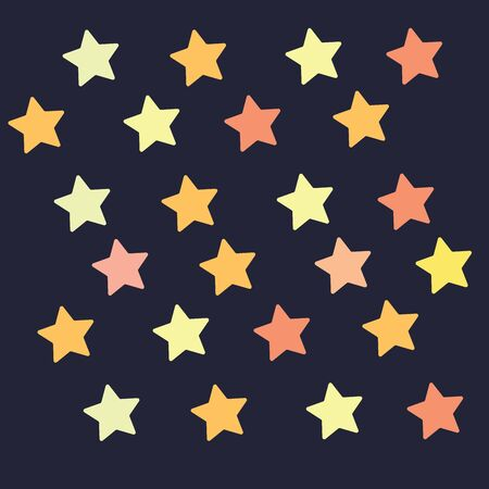 Regular patterns of the colorful stars over black background set isolated on black background viewed from the front, vector, color drawing or illustration.