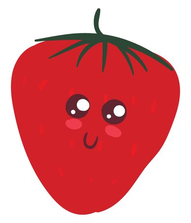 the fat strawberry topped with green stalk with eyes rolled top-right has a cute little face with eyes rolled top-right has a closed smile over white background, vector, color drawing or illustration.
