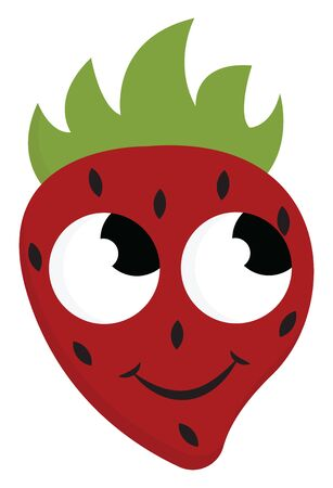 The red strawberry with black patches topped with green leaf has a cute little face with eyes rolled top-left is smiling over white background, vector, color drawing or illustration. Illustration