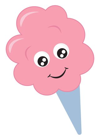 A crisp blue cone holds the yummy and delicious cotton-like pink filling has a cute little face with eyes rolled bottom-left is smiling over white background, vector, color drawing or illustration. Иллюстрация