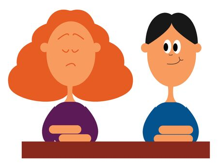 Two students, a girl, and a boy, seated before the desk displaying books gives cute expressions set isolated on white background viewed from the front, vector, color drawing or illustration. Foto de archivo - 132672901