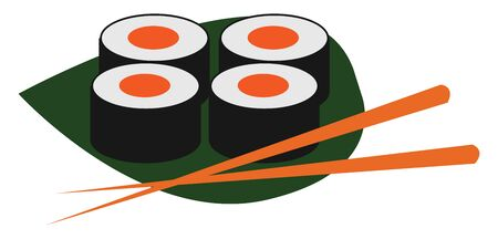 Clipart of four sushi in orange, white and green over a palm-leaf with chopsticks usually made from seasoned rice with fish, egg, or vegetables, vector, color drawing or illustration.