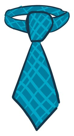 A long blue checkered tie perfect for mens business and special days over the white background and viewed from the front, vector, color drawing or illustration. Çizim