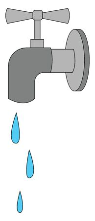 Clipart of water flowing from the grey tap or faucet over white background viewed from the side, vector, color drawing or illustration. Ilustracja