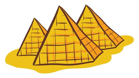 The drawing of three yellow pyramids whose outer surfaces are triangular and that converge to a single point at the top above the yellow sand covering the land, vector, color drawing or illustration.