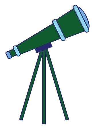 A green and blue colored optical instrument designed to make distant objects appear nearer, containing an arrangement of lenses, is mounted on a tripod, vector, color drawing or illustration.