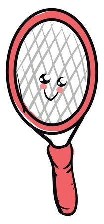 Emoji of the cute pink tennis racket in pink and blue colors has a cute little face and with eyes rolled top-left has a closed smile turning up to the cheek, vector, color drawing or illustration.