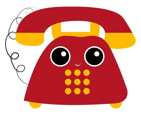 Old days telephone in red and yellow a comprehensive landline to communicate with the loved ones has a cute little smiling face, vector, color drawing or illustration. Stock fotó - 132672846