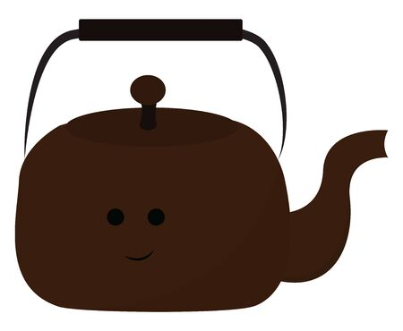 Emoji of a brown teapot equipped with a lid, a spout, a handle to carry easily has a cute little smiling face, isolated on white background , vector, color drawing or illustration.  イラスト・ベクター素材