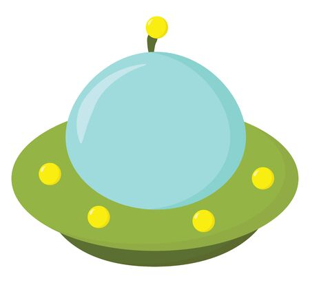 A dome-shaped alien spacecraft in blue, green, and yellow colors with a white exclamation mark is all set ready for carrying extraterrestrials, vector, color drawing or illustration.