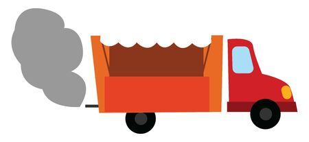 An orange dump truck with blinking yellow lights emitting smoke while traveling set isolated white background viewed from the side, vector, color drawing or illustration.
