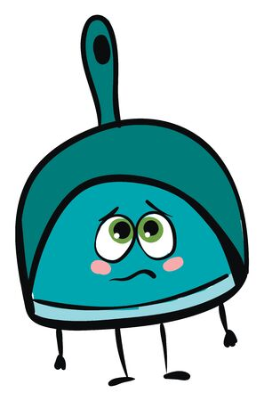 the blue dustpan with a hollow in the handle has stick-like black hands and legs, and a cute little face with green eyes expresses sadness while standing, vector, color drawing or illustration.