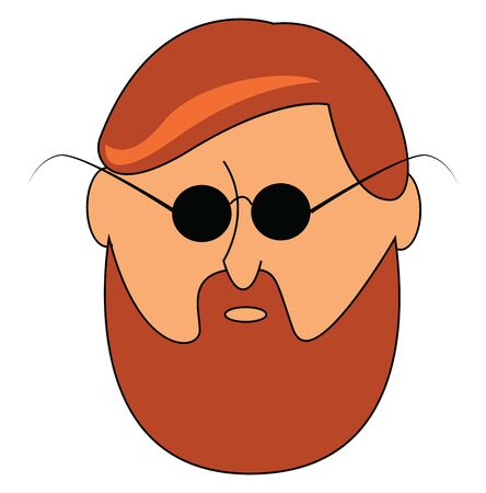 A bearded guy with sunglasses, with mustache, with brown hair, angry expression of the face, vector, color drawing or illustration.