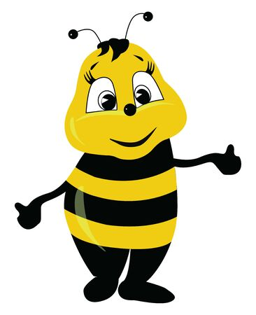 A standing, cute, black and yellow striped bee, eyes wide opened, both hands are stretched, smiling, looks happy, vector, color drawing or illustration.